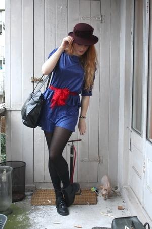 blue vintage dress - red vintage scarf - black vintage purse - red vintage hat -