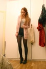 Pink-zara-cardigan-black-only-shorts-white-h-m-top-black-vintage-boots