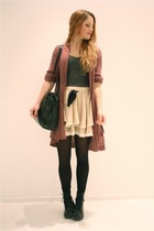 brown elle cardigan - beige Topshop skirt - black vintage purse - gray H&M top -