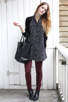 black vintage boots - black polkadot Motel dress - crimson zipper American Appar