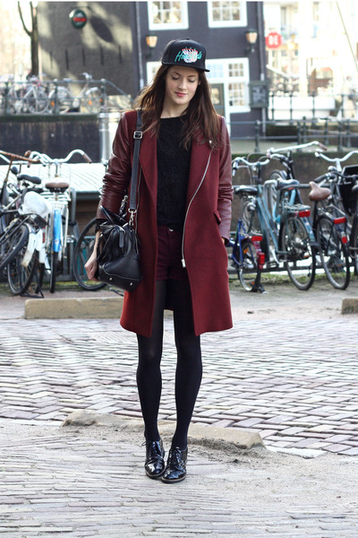 crimson Zara coat - black the hundreds hat - black brogues PAM flats