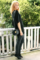 dark gray Topshop jeans - black knitted lurex Zara sweater - black round vintage