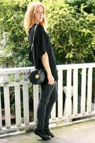 dark gray Topshop jeans - black knitted lurex Zara sweater - black round vintage