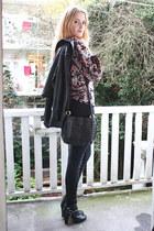 black customized H&M boots - black zipper American Apparel jeans