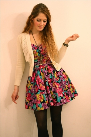 brown leopard Topshop coat - pink floral vintage dress - black H&M tights