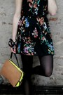 Black-floral-primark-dress-camel-neon-zara-bag-black-suede-nelly-heels