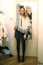 white vintage top - gray American Apparel skirt - black united nude shoes - blac