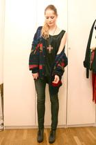 vintage sweater - H&M shirt - pieces leggings - gift necklace - Newport News sho
