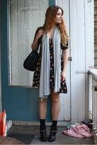 black gifted dress - gray Zara scarf - black H&M boots