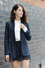 White-sheer-mango-blouse-teal-plaid-warehouse-jacket