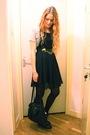 Black-h-m-dress-black-vintage-purse-gray-only-top-black-wedins-boots