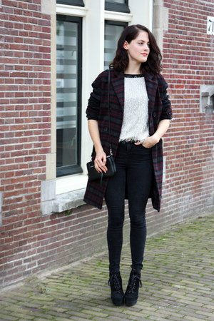 crimson tartan Urban Outfitters coat - black River Island jeans