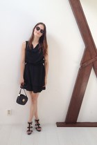 black dress - black vintage bag - dark brown round Ebay sunglasses
