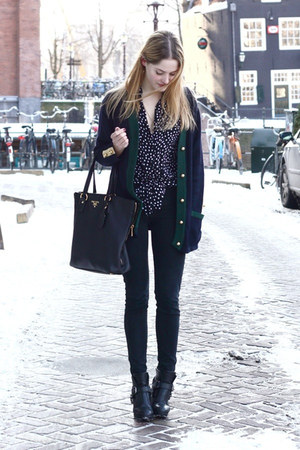 black Dolce Vita boots - black American Apparel jeans - black Prada bag