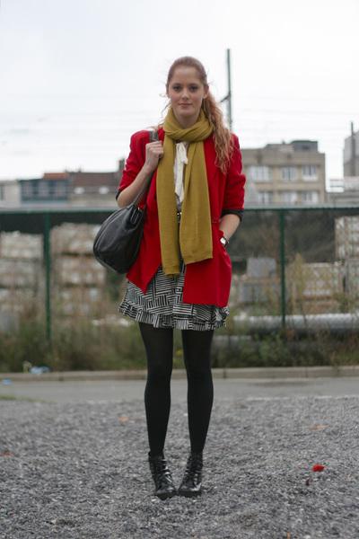 Moschino blazer - H&M scarf - Topshop skirt - vintage purse - Wedins boots