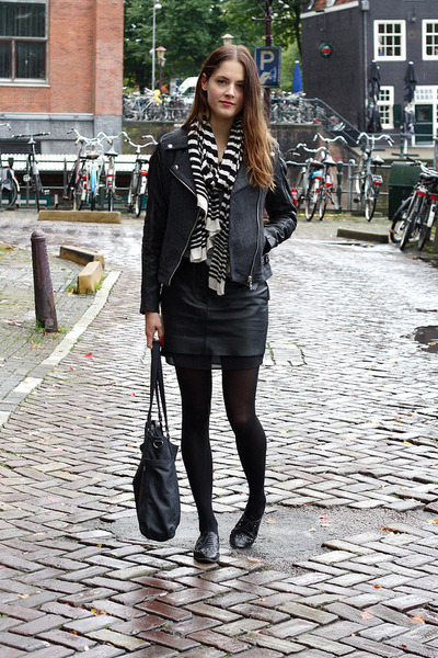 Black Leather H&M Trend Skirts, Gray Biker Goosecraft Jackets ...
