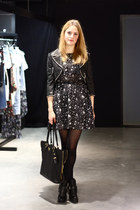 black star print asos dress - black buckle Dolce Vita boots