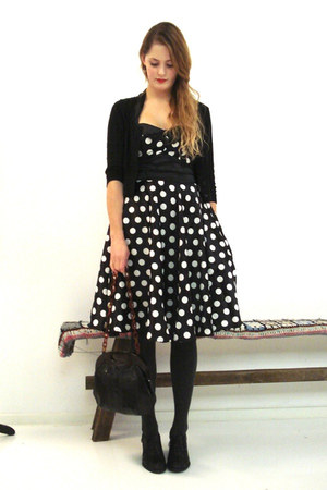 vintage purse - polkadot hell bunny dress - buttoned H&M cardigan