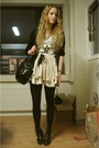 Beige-topshop-skirt-black-strellson-cardigan-gray-vintage-top-black-wedins