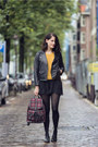 Black-biker-sandro-jacket-mustard-knitted-river-island-sweater