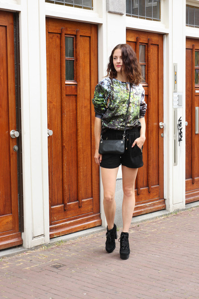 black asos boots - green tree print aloha from deer sweater
