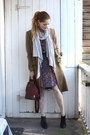 Brown-mango-coat-light-brown-vintage-dress-brick-red-mallorca-souvenir-bag-