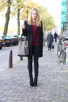 black chunky heel asos boots - black leather sleeve H&M coat