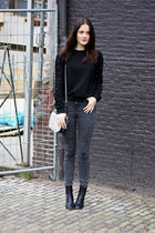 black studded Udobuy sweater - charcoal gray River Island jeans