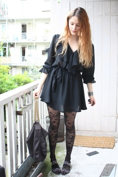 black vintage dress - black H&M tights - blue vintage shoes - gray Stella McCart