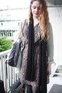 Brown-vintage-dress-beige-zara-jacket-black-h-m-scarf-gray-stella-mccartne