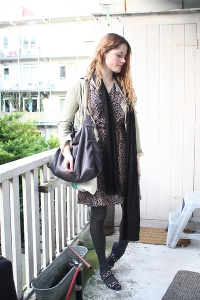 brown vintage dress - beige Zara jacket - black H&M scarf - gray Stella McCartne