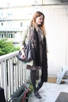 brown vintage dress - beige Zara jacket - black H&M scarf - gray Stella McCartne