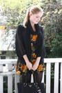 Black-brogues-bagatt-shoes-light-orange-floral-vintage-dress