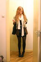 beige Zara jacket - blue vintage skirt - brown second-hand cardigan - black vint