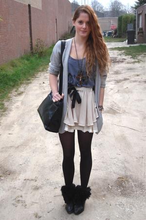 gray Filippa K cardigan - black vintage purse - black vintage boots - beige Tops