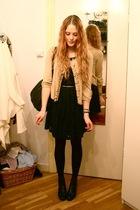 gold H&M cardigan - black Love Label dress - black vintage purse - gold vintage