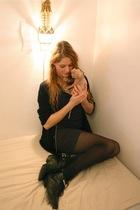 gray H&M skirt - black Strellson sweater - black vintage boots - blue from berli
