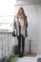 pink H&M scarf - beige Topshop coat - black vintage purse - brown gift necklace