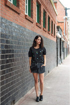 black Rebecca Minkoff bag - black polkadot Motel shorts