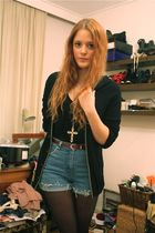 black Strellson cardigan - black Topshop top - blue vintage shorts - black Wedin