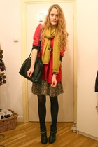 brown leopard vintage dress - black customized H&M boots - red Moschino blazer