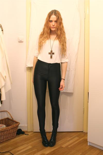black American Apparel pants - white H&M top - black Wedins boots - brown gift n