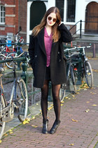 black Mango coat - black dee vagabond boots - maroon Atmosphere blouse