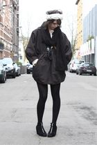 gray H&M Trend coat - black H&M shoes - blue Episode necklace - black H&M scarf