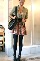 Zara jacket - made by me dress - vintage purse - vintage boots