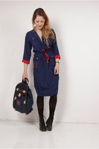 blue vintage dress - blue vintage purse - black H&M boots