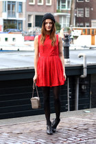 red floral studded Dahlia dress - black vagabond boots - black H&M hat
