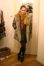 Beige-topshop-coat-yellow-h-m-scarf-gray-american-apparel-skirt-black-vint