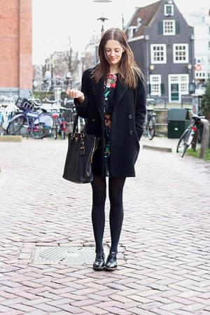 black floral Atmosphere dress - black Mango coat - black Prada bag