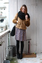 brown H&M jacket - black vintage purse - brown vintage dress - black H&M boots -
